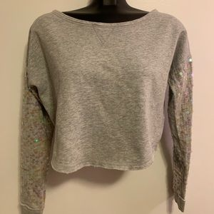 Aeropostale cropped sequin long sleeve knit